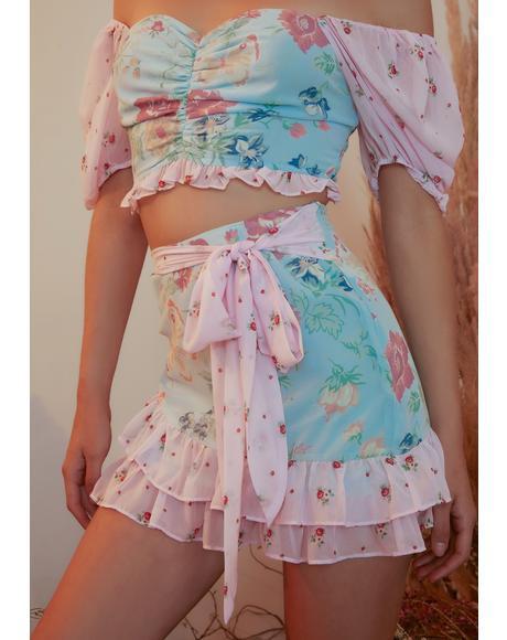 Pat A Cake Ruffle Chiffon Mini Skirt