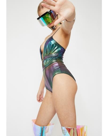Midnight Rave Invader Oil Slick Bodysuit