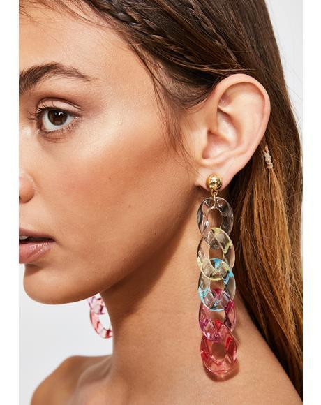 Rainbow Love Link Earrings