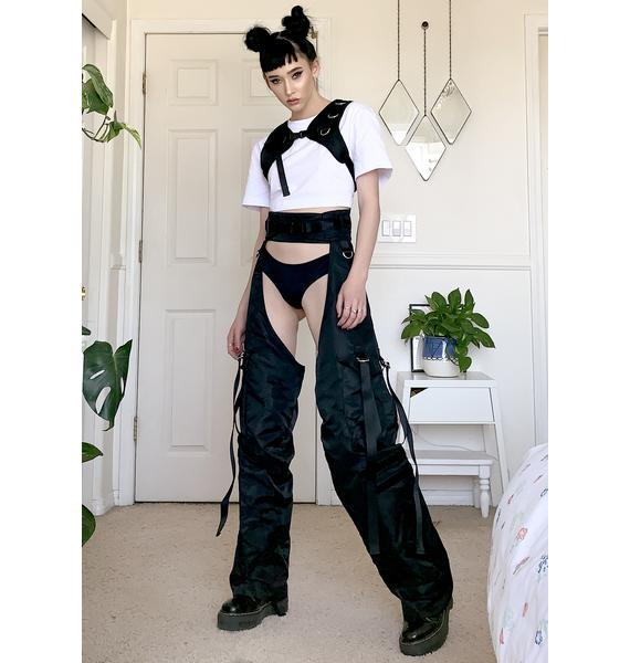 Namilia Black Nylon Chap Pants