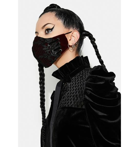 Punk Rave Lace Up Face Mask