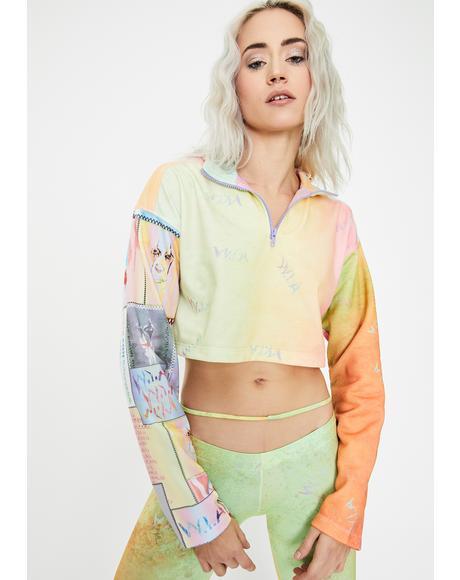 Light Brush Tie Dye Crop Sweater