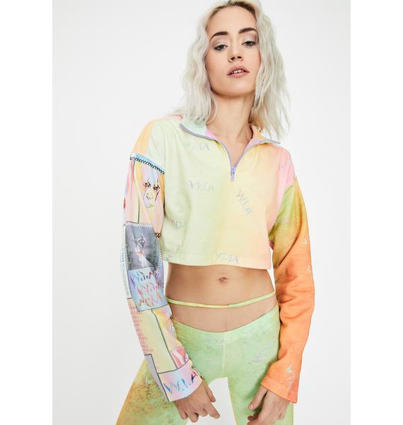 W.I.A Light Brush Tie Dye Crop Sweater