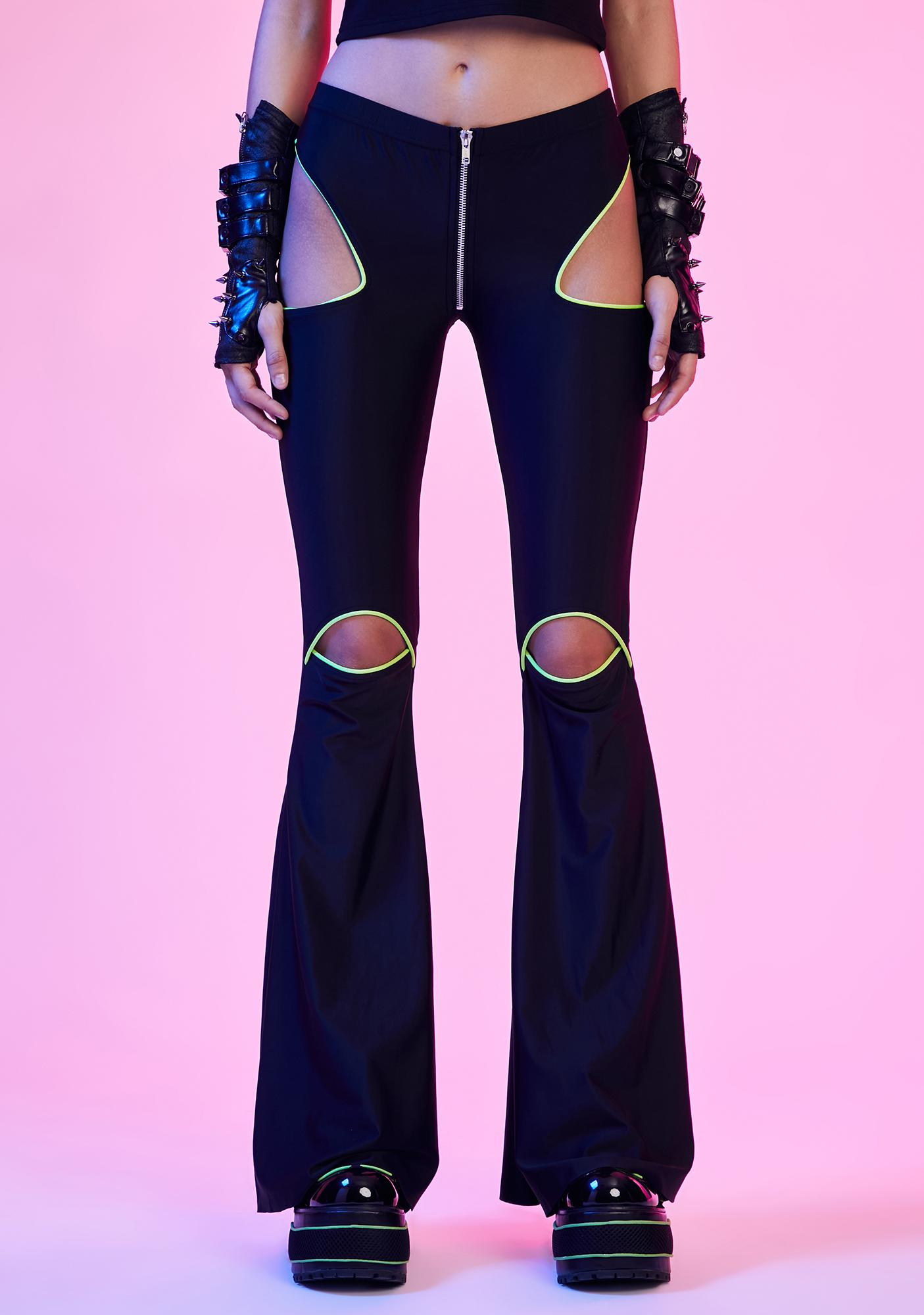 Current Mood Rave Vixen Cut-Out Flare Pants