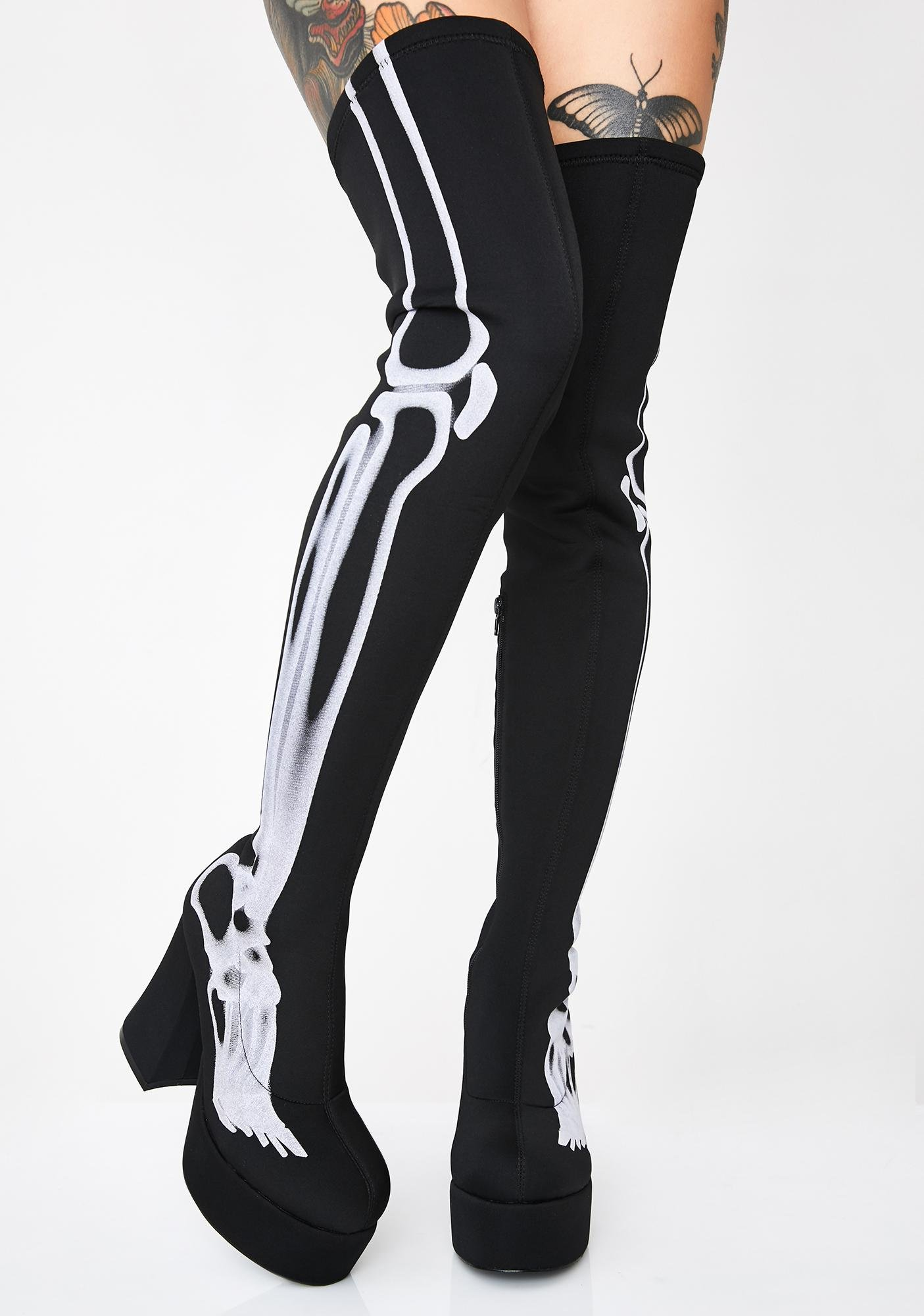 Dolls Kill Bare Bones Thigh High Boots