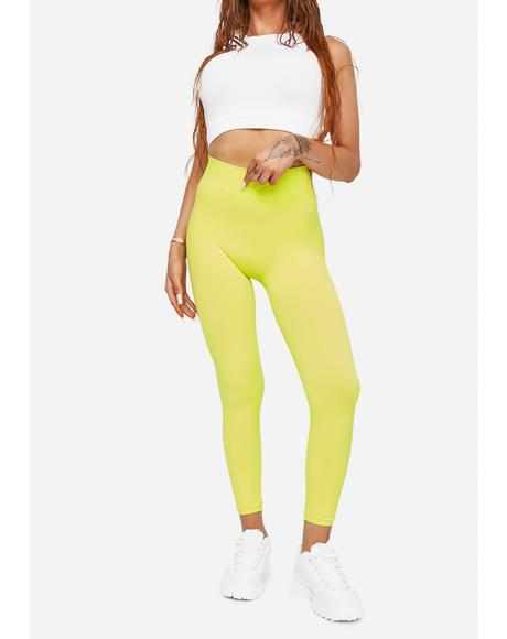 Lime Pick The Pace High Waist Leggings