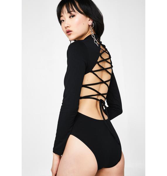Minga Neon Dragons Lace-Up Bodysuit