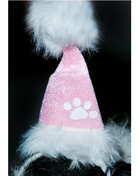 Pinky Pawz Doggie Santa Hat