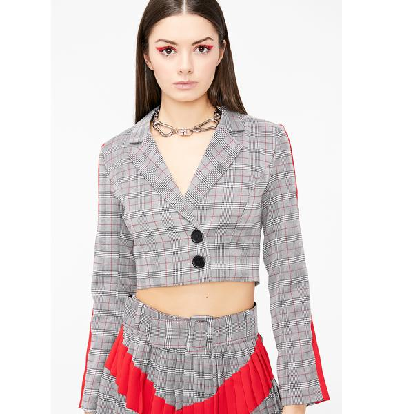 Bad Aptitude Plaid Blazer