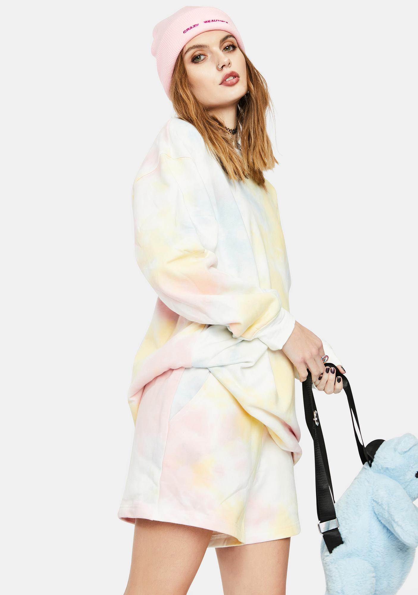 Re Named Rainbow Terry Sweatshirt Dress