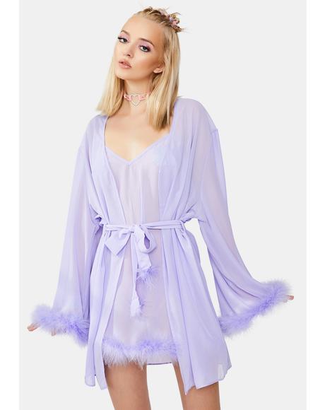 X Bettie Page Lilac Chiffon Feather Robe