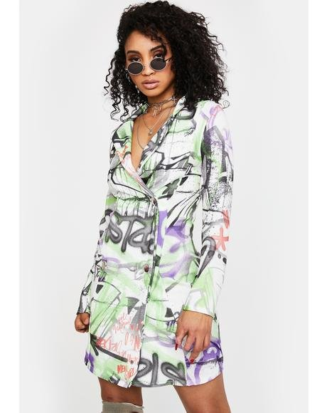 Graffiti Print Blazer Dress
