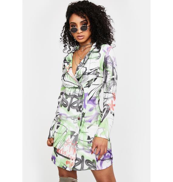 NEW GIRL ORDER Graffiti Print Blazer Dress
