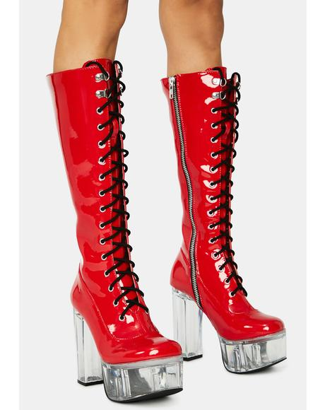 Dangerous Desires Knee High Boots