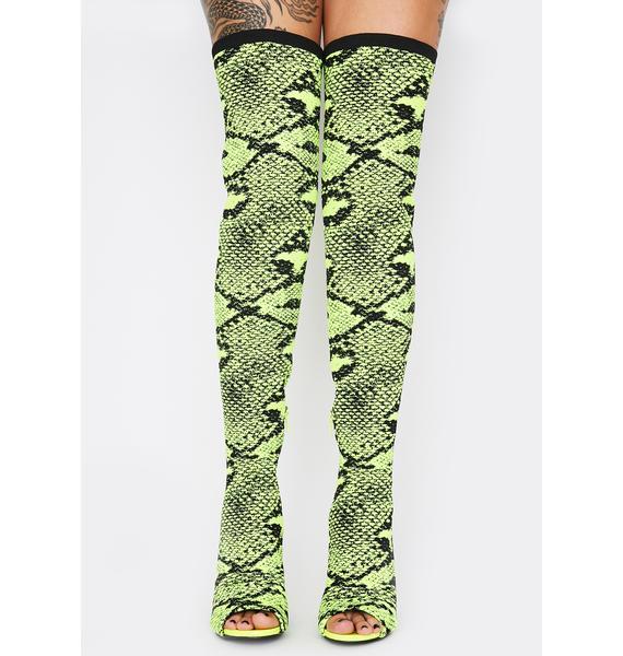 Lime Serpentine Seduction Thigh High Boots