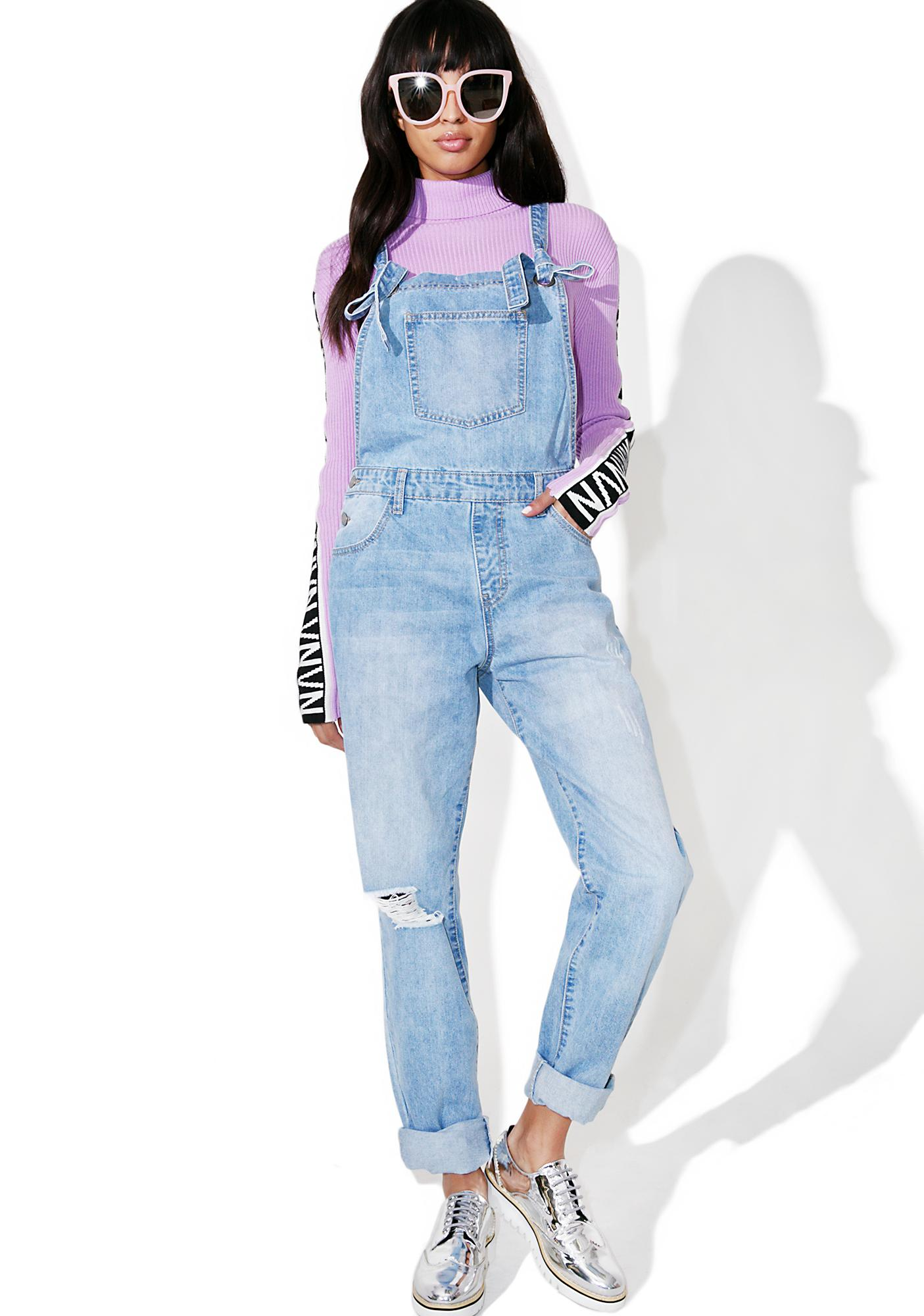 Glamorous Solo Job Distressed Overalls