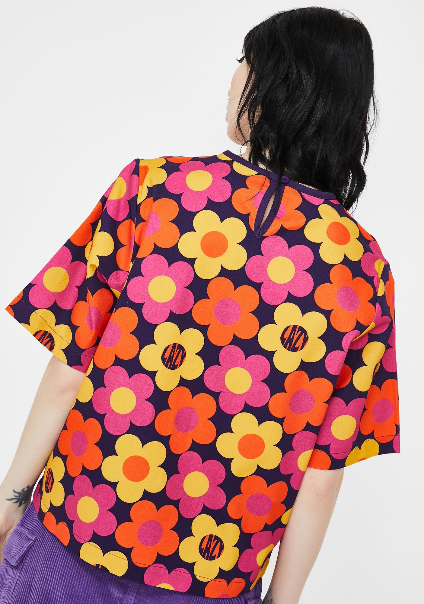 Lazy Oaf 70s Floral Print T-Shirt