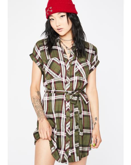 Olive Keep It Casual Plaid Dress