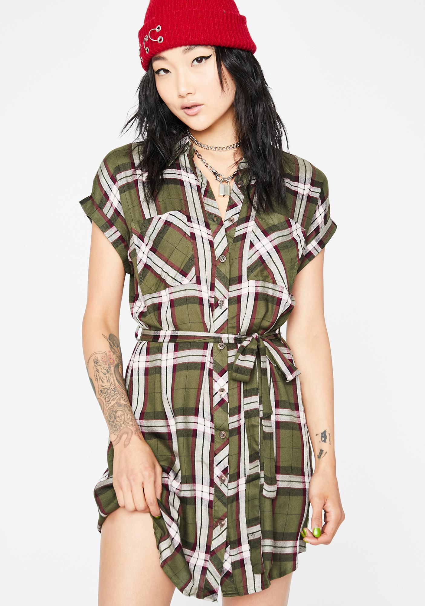 Olive Keep It Casual Plaid Dress