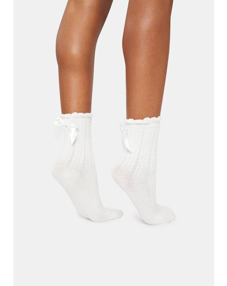 Angelic Bow On Top Ribbed Crew Socks