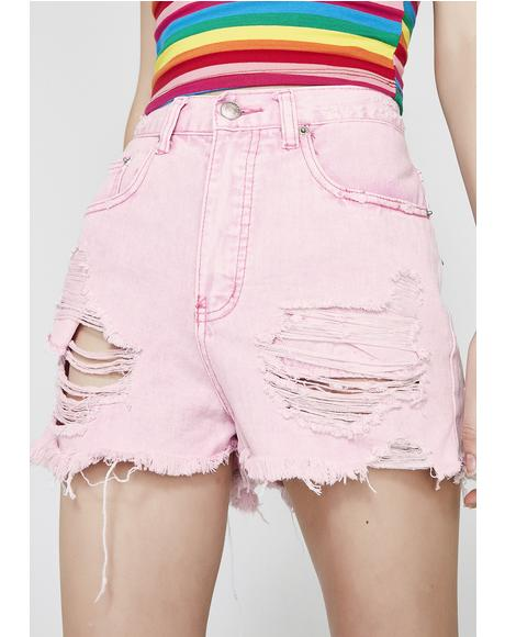 Candy Got Me Tempted Distressed Shorts