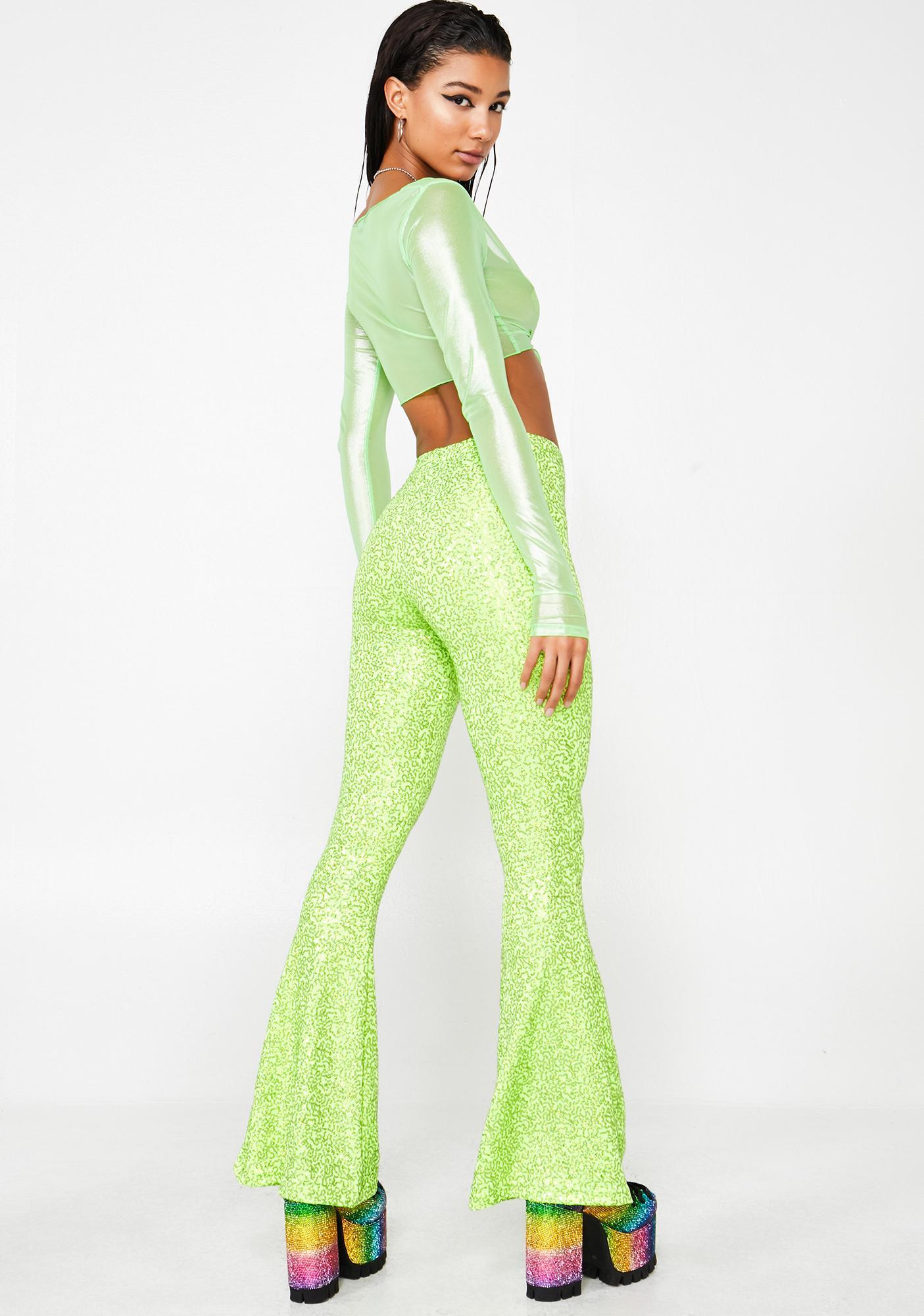 Get Crooked Sequin Lycra High Waist Flares