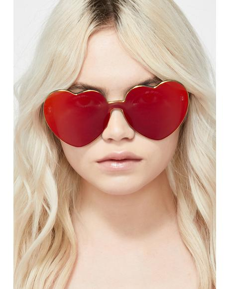 Cherry Diet Dew Heart Sunglasses