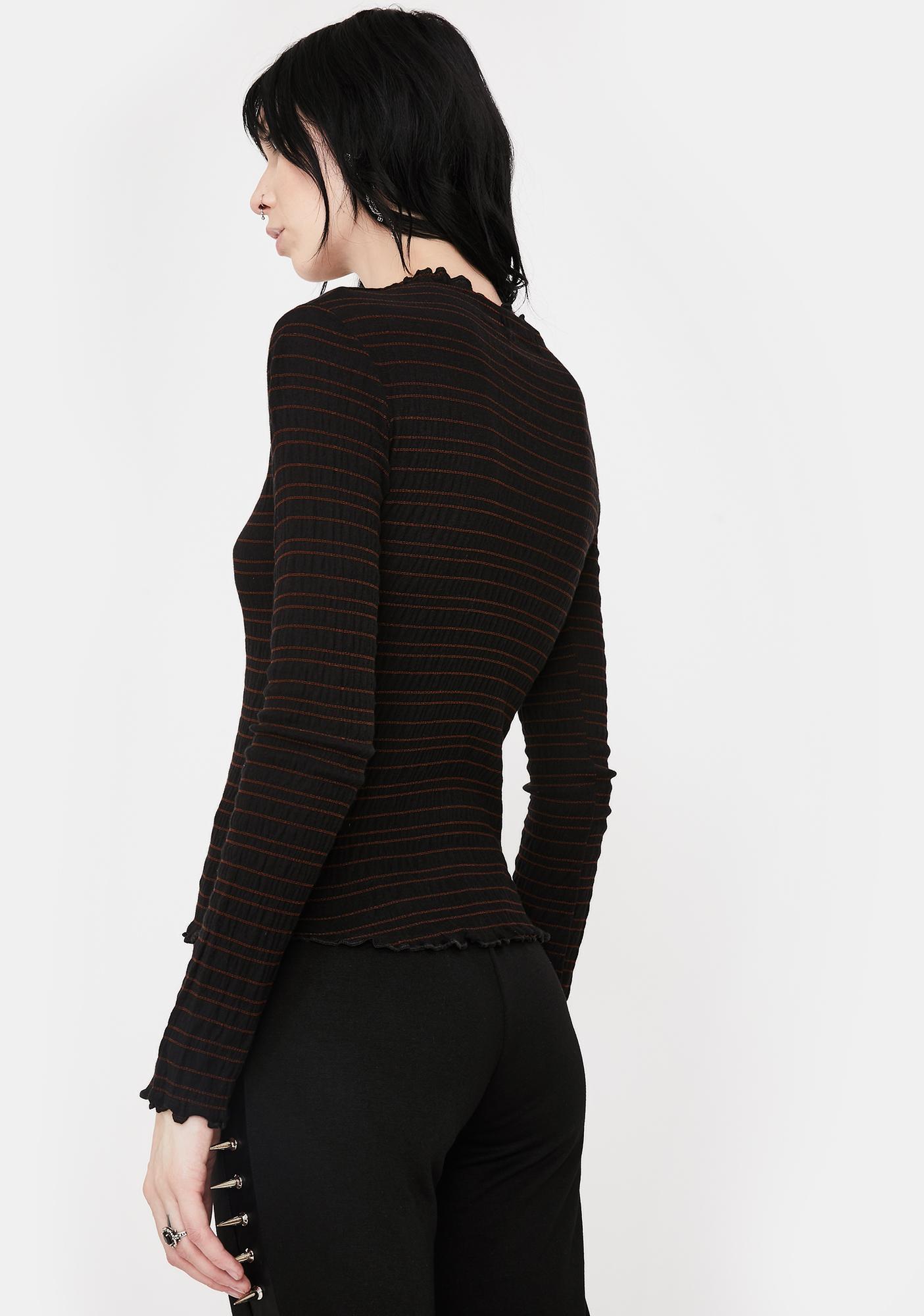 NOCTEX Black Ripl Long Sleeve Top