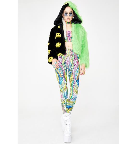 Ivy Berlin Smiley Neon Green Split Faux Fur Jacket