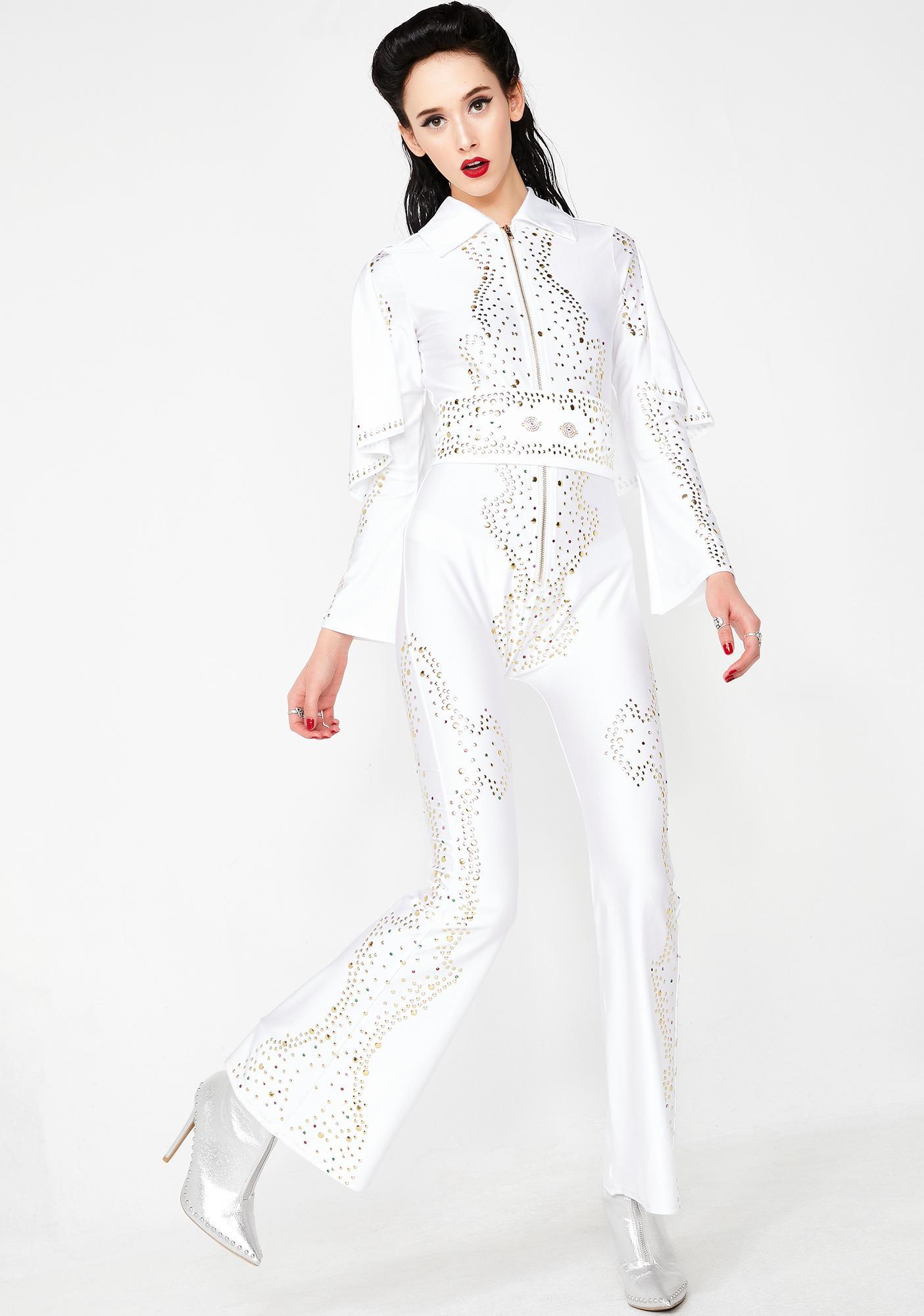 d5c765e1f8e4 White Sexy Elvis Presley Jumpsuit Costume