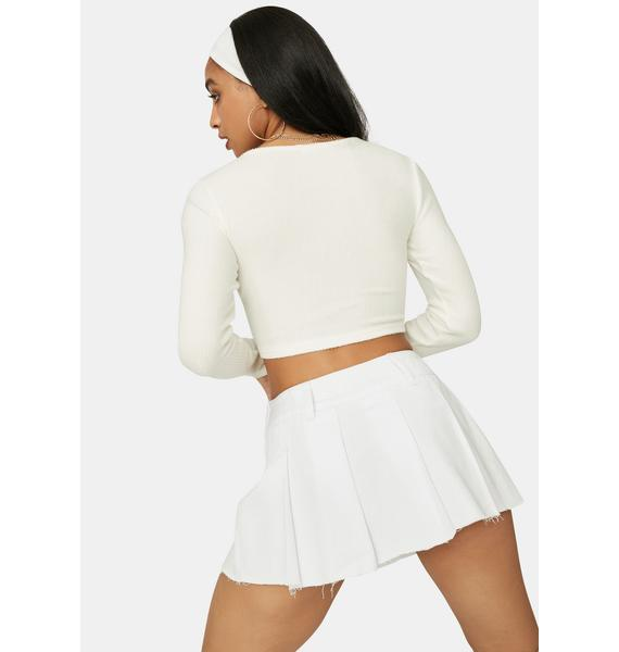 Snow With No Choice Drawstring Crop Top