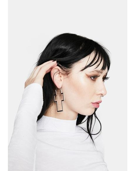 I Won't Pray For You Cross Earrings