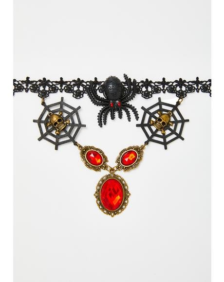 Queen of Spiders Lace Choker