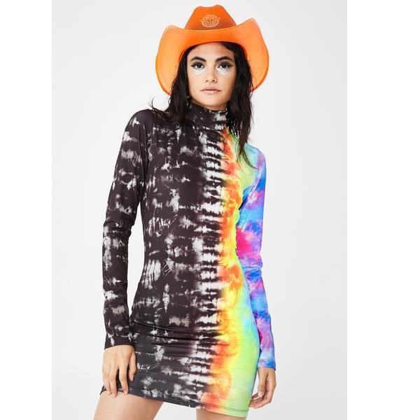 Jaded London Tie Dye Print Long Sleeve Dress