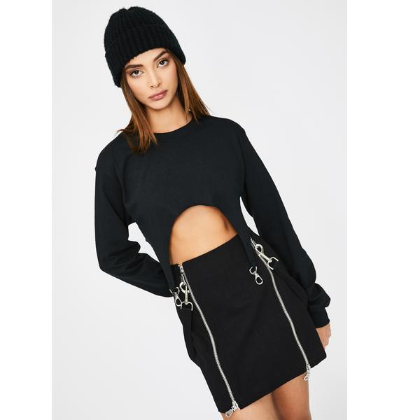 The Ragged Priest Black Supply Crop Top