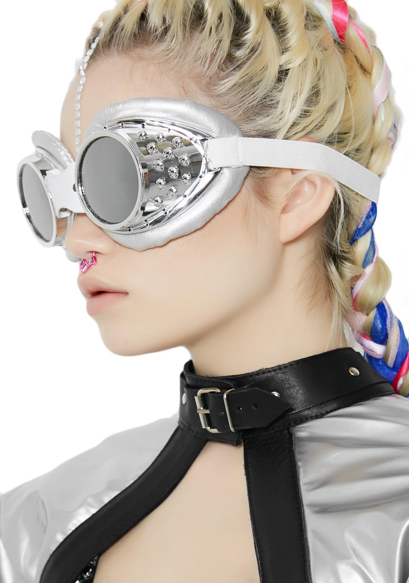 Chrome Radioactive Aviator Goggles