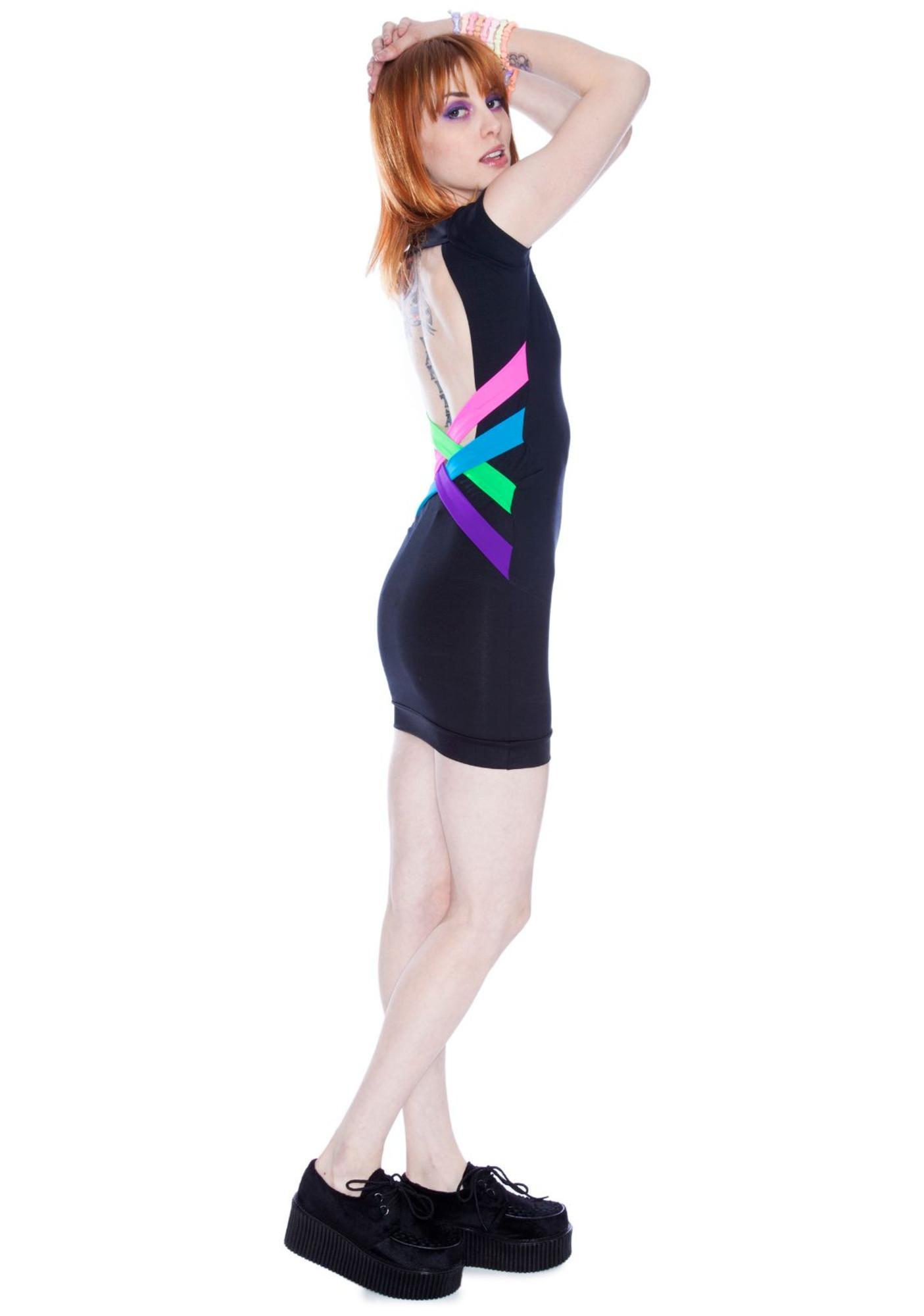 Criss Cross Black Neon Dress