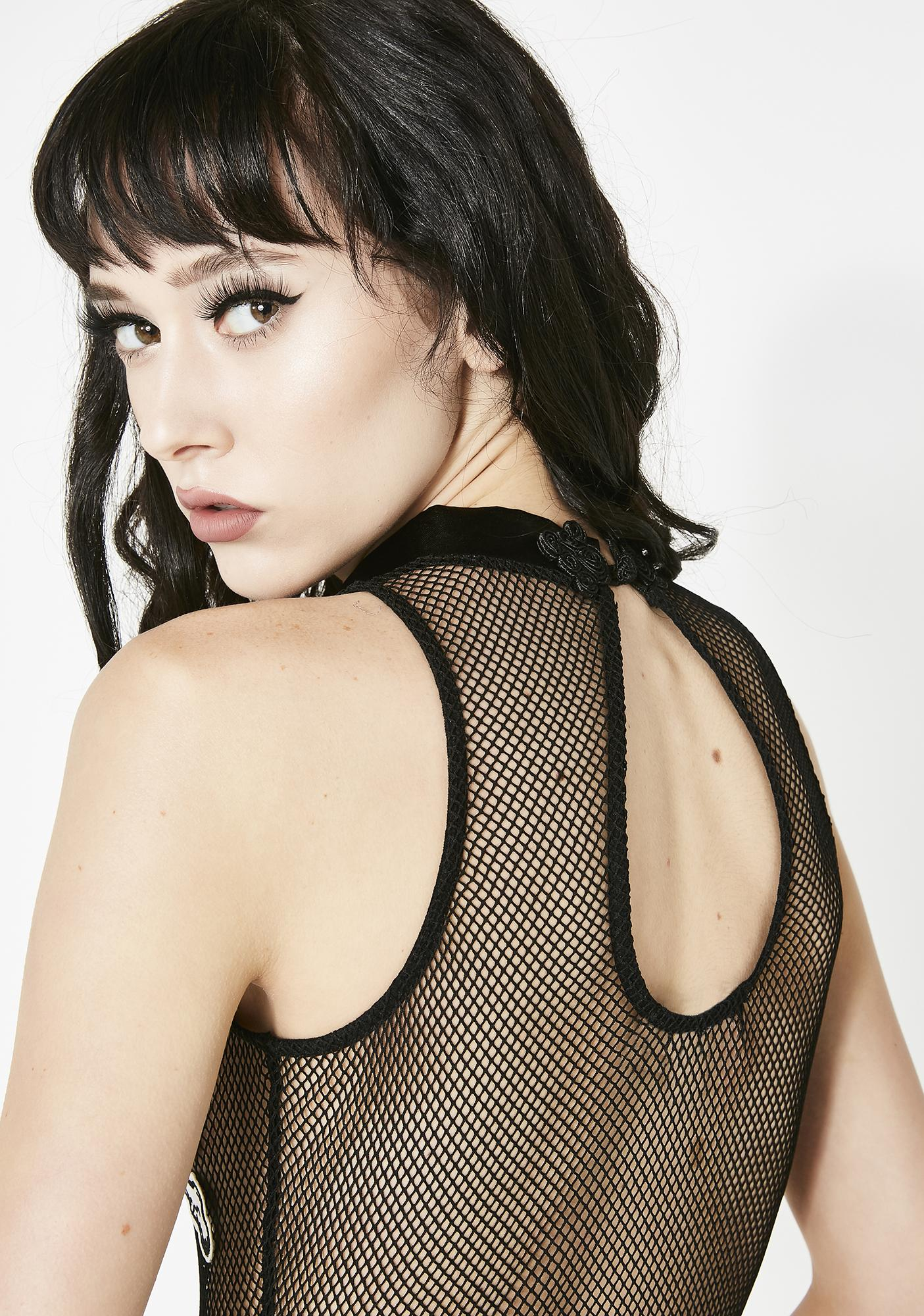 Dolls Kill Crossbones N' Terror Fishnet Bodysuit