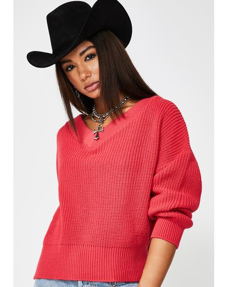 Hot Coral Slouchy V-Neck Sweater