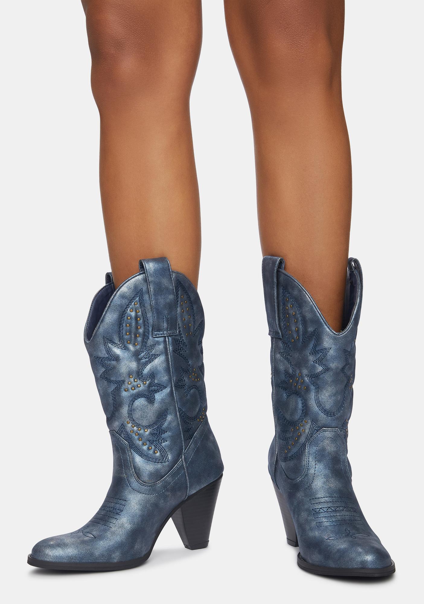 Volatile Shoes Navy Denver Cowboy Boots