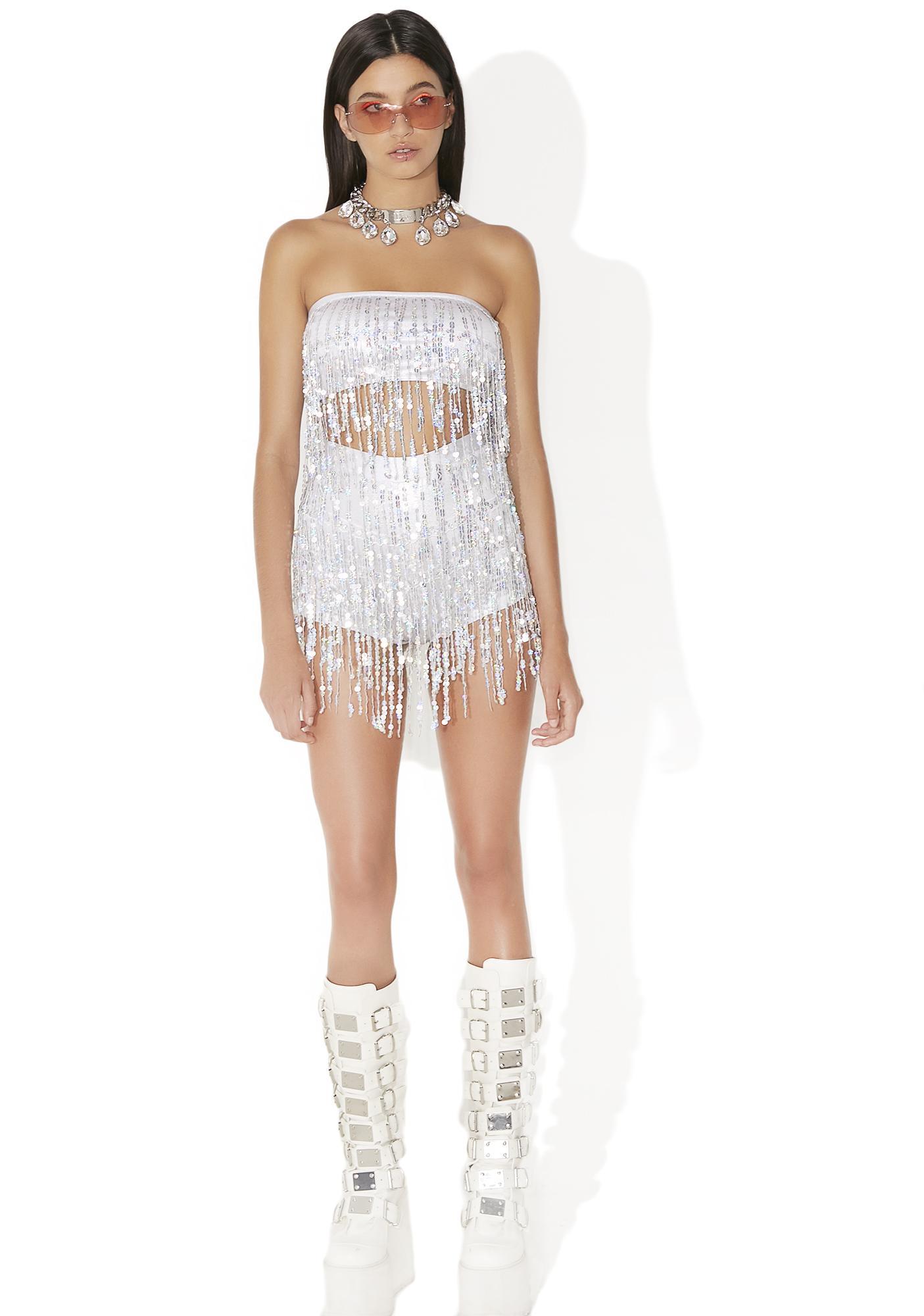 Jaded London Sequin Fringe Shorts