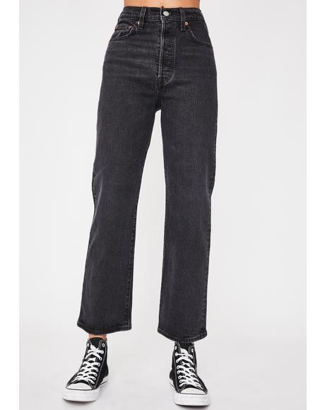 Feelin Cagey Ribcage Straight Leg Ankle Jeans