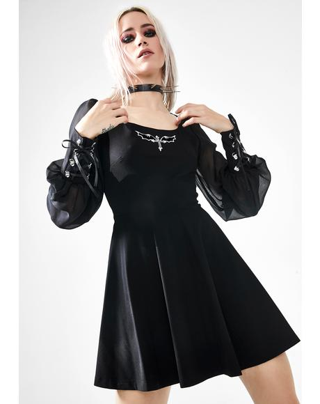 Tied Chiffon Sleeve Mini Dress