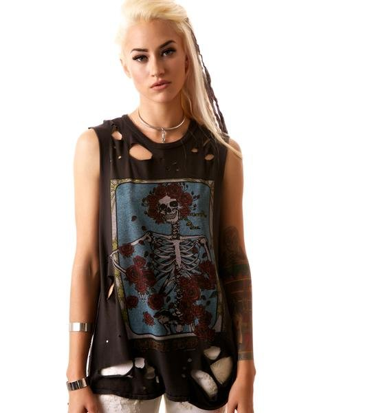 Lauren Moshi Grateful Dead Rose Muscle Tee
