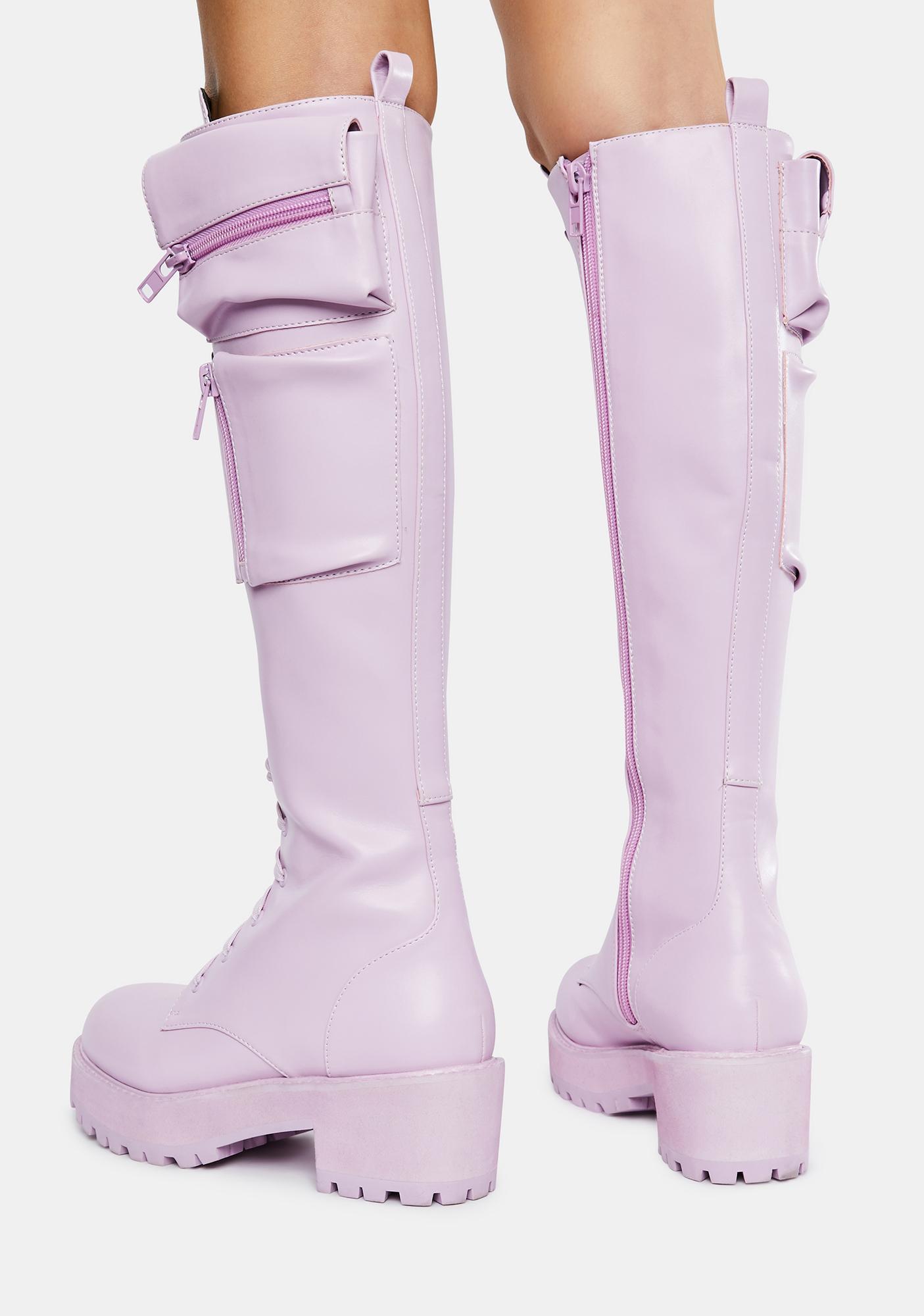 Sugar Thrillz Lavender Obsidian Pocket Combat Boots