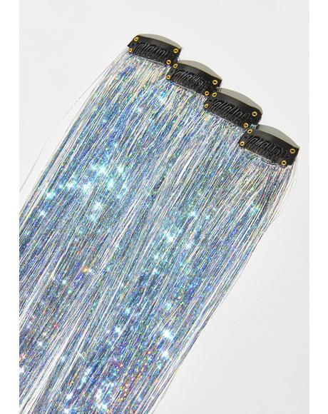 Power Silver Holo Hair Tinsel Clip In Extensions