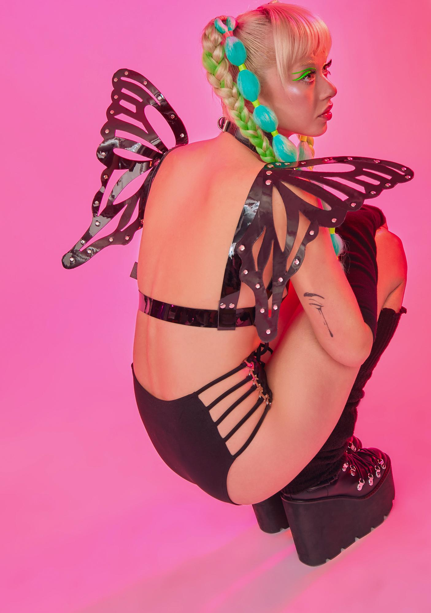 Daisy Corsets Black Butterfly Wings Harness