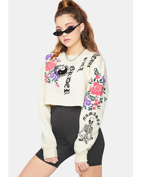 Floral Cropped Crewneck Sweatshirt