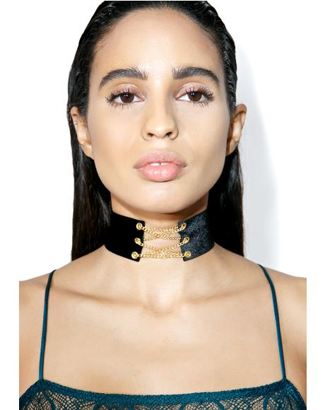 Morticia Lace-Up Choker