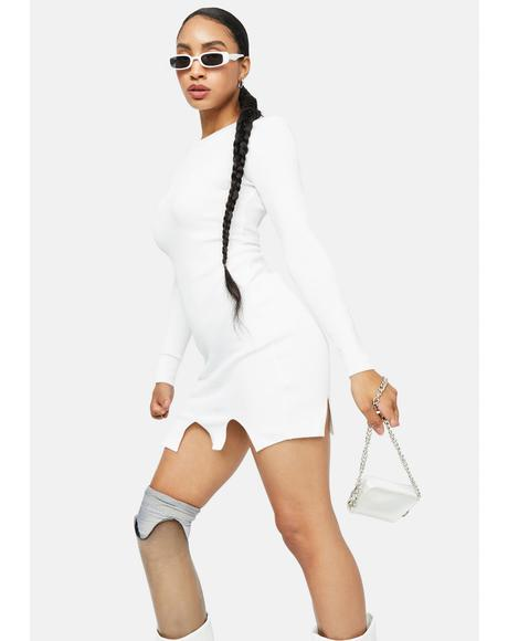 Blanc Servin' Attitude Ribbed Mini Dress